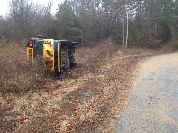 school bus flipped over dover