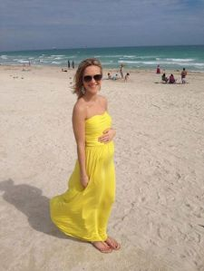 Heather's baby bump in January.