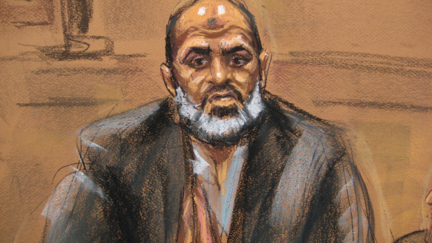 Courtroom sketch of Osama bin Laden's son-in-law, Sulaiman Abu Ghaith, testifying at his own terrorism trial in Manhattan federal court, March 19, 2014. (credit: Court art/ Jane Rosenberg)