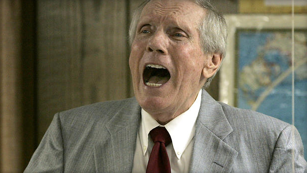 This March 19, 2006, file photo shows Pastor Fred Phelps preaching at his Westboro Baptist Church in Topeka, Kansas. Photo courtesy of CBS News.