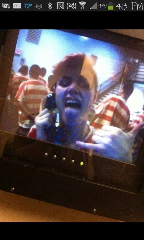 Apparent photograph of Brock Atkins during a call from jail