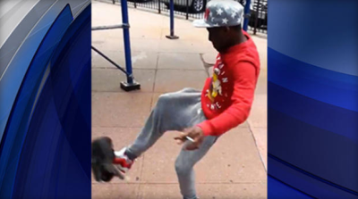 Police say the man shown kicking a cat in this video posted on Facebook is Andre Robinson, 21, of New York's Brooklyn borough. He has been charged with aggravated animal cruelty.  CBS NEW YORK