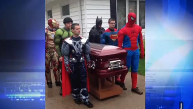 Adults dressed as Spider-Man, Superman, Batman and the Incredible Hulk were among the pallbearers at Brayden Denton's funeral last week in northwestern Indiana. CBS NEWS