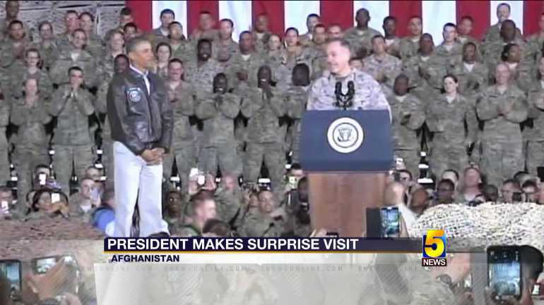 President Obama Surprises Troops