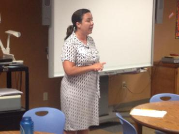 Washington Elementary School Principal Ashley McLarty addresses PTA members while apologizing Monday night.