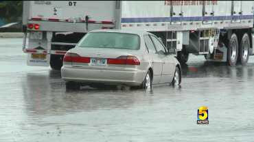 Cars On 71 Business In Springdale Saw Heavy Rain Wednesday Afternoon