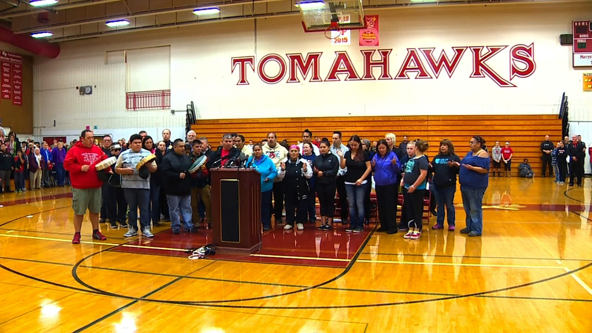 Students, parents and school leaders met inside the gym at Marysville-Pilchuck High School on Sunday to remember, mourn and talk about ways to move forward. Students and parents were separated for private discussions.