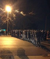 Ferguson Protester police line