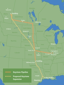 The proposed Keystone XL Project consists of a 1,700-mile crude oil pipeline and related facilities that would primarily be used to transport Western Canadian Sedimentary Basin crude oil from an oil supply hub in Alberta, Canada to delivery points in Oklahoma and Texas. (According to the U.S. Department of State)
