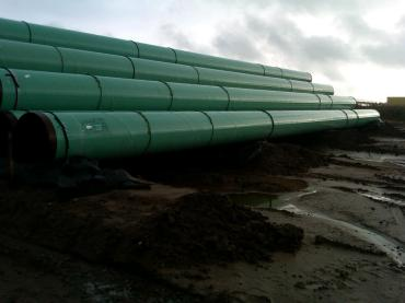 March 2012: Pipes are ready to be put in place for the Keystone pipeline in Cushing, Oklahoma.