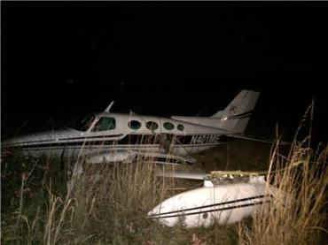 The twin-engine Cessna lost power just after takeoff.