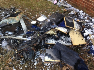 Picture of burnt mattress.