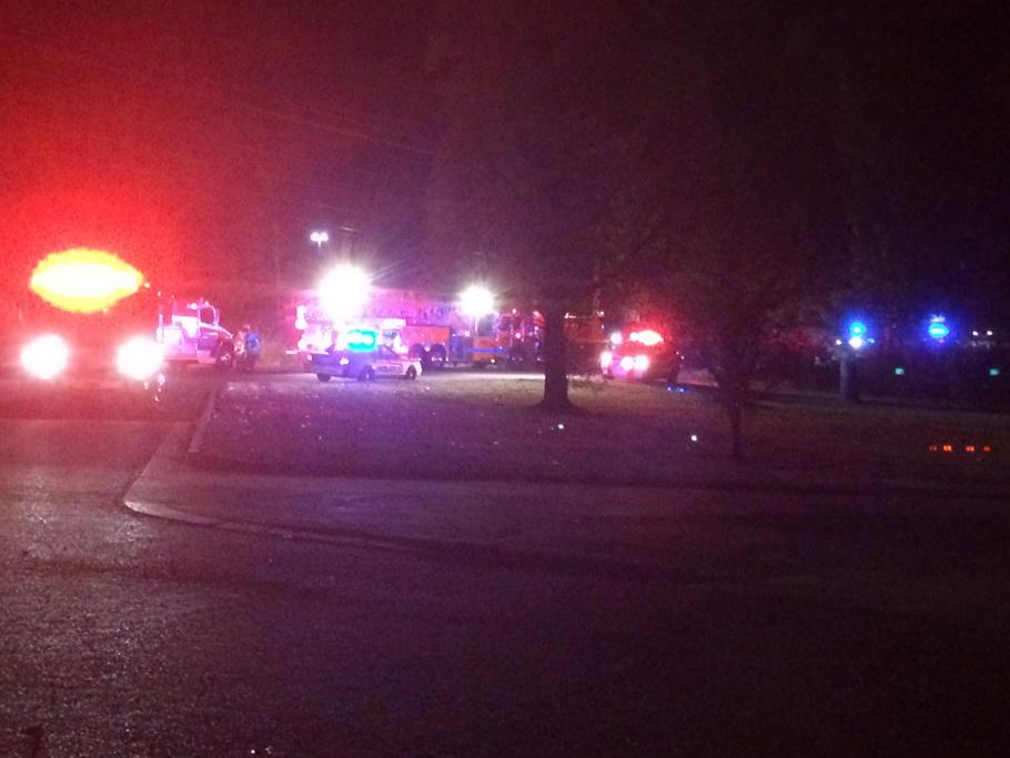 Emergency responders and police on the scene of a one-vehicle accident in Springdale.