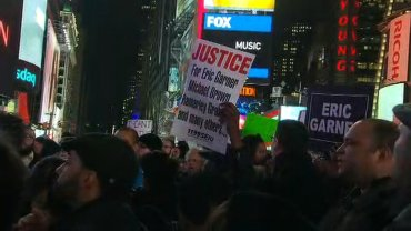 Protesters in Times Square over the Grand Jury decision on Eric Garner.