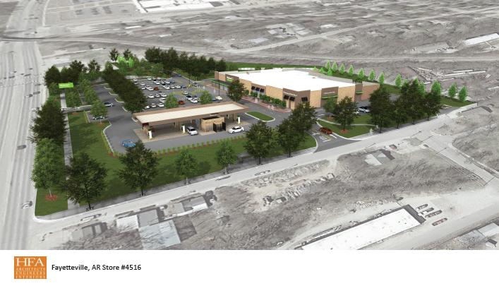 Rendering of proposed Walmart Neighborhood Market in south Fayetteville.