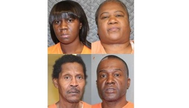 Clockwise: Tyana Lewis, Montresa Lewis Jones, Dwayne Lewis, Preston Jones (Courtesy: Sebastian County Jail)