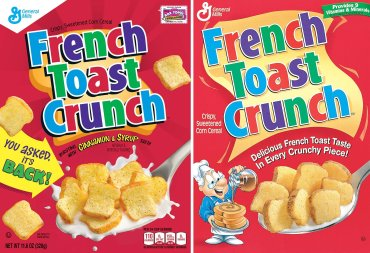 The new packaging, left, is an updated version of the 1990s design. Courtesy: General Mills