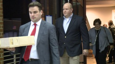 Joshua Melton and his attorney, Drew Ledbetter, leaving the Washington County Courthouse following jury verdict.