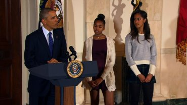 Obama daughters Sasha and Malia appear at the annual Thanksgiving turkey pardon at the White House on Nov. 26, 2014.