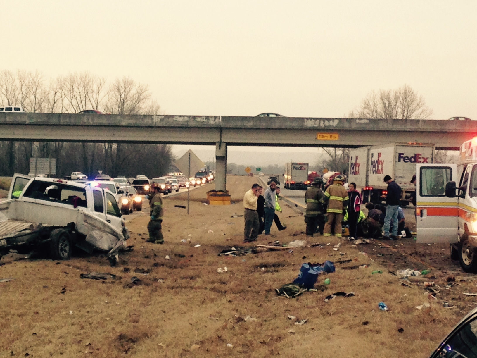 Semi Smashes Pickup Truck In Highway Wreck Near Roland