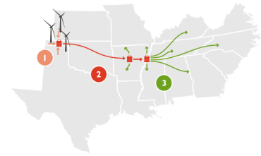 Clean Line Energy proposed transmission line route