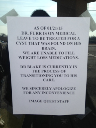 "The note that appears on Furr's Roland office door states he is on medical leave ""to be treated for a cyst that was found on his brain""."