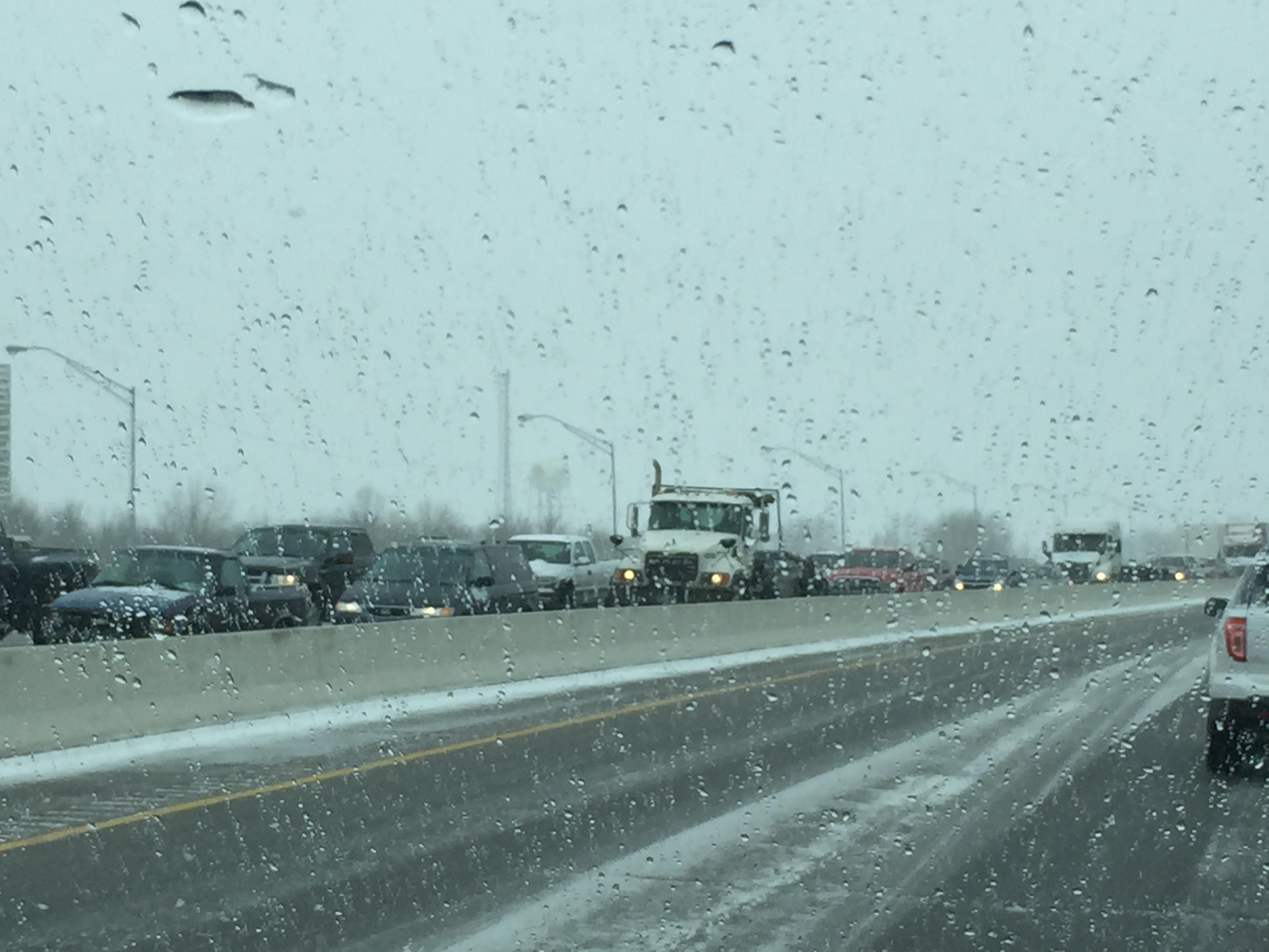 The single-vehicle crash near the Rogers Avenue exit backs up northbound traffic mid Monday morning.