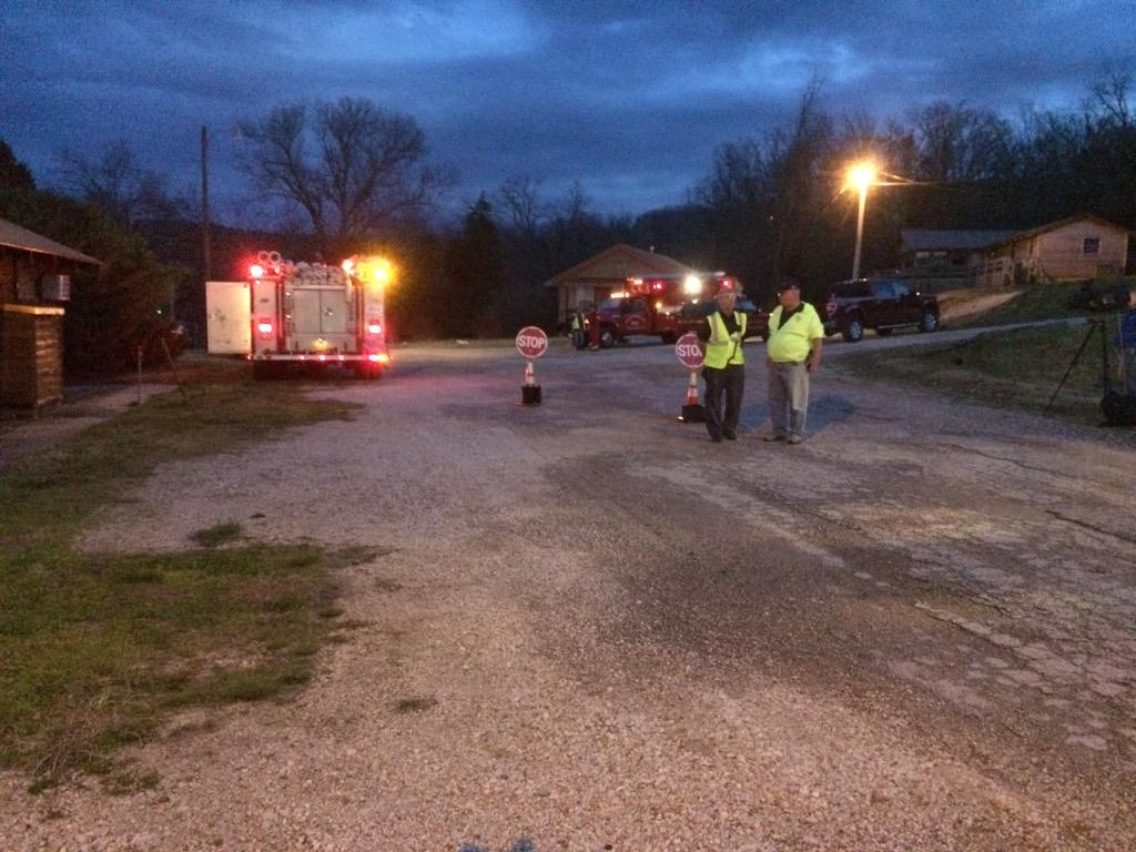 Authorities set up perimeter around Coppermine Rd. at Beaver Lake.