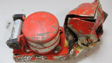 "Courtesy CBS News: The flight voice recorder, one of the ""black boxes"" from Germanwings 9525."
