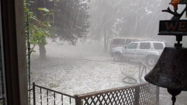 Hail falling in Sebastian County, just off of Hwy 71 South. Sent in by Tim.