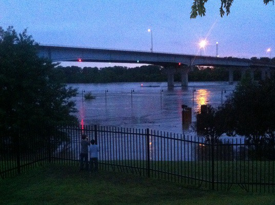 The Fort Smith Riverfront Ampitheater flooded. Via 5NEWS viewer Levi Daniels