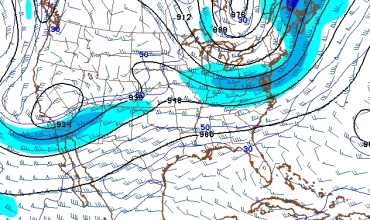 A weak wave in the jet stream will cause showers on Friday.