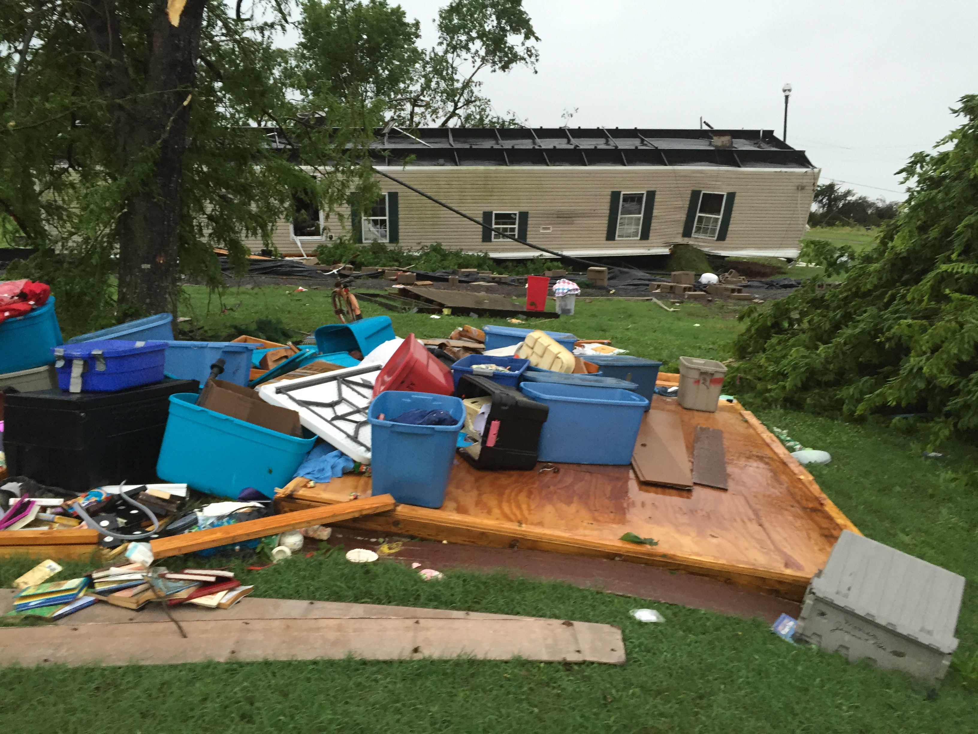 Overturned house in Leflore County.