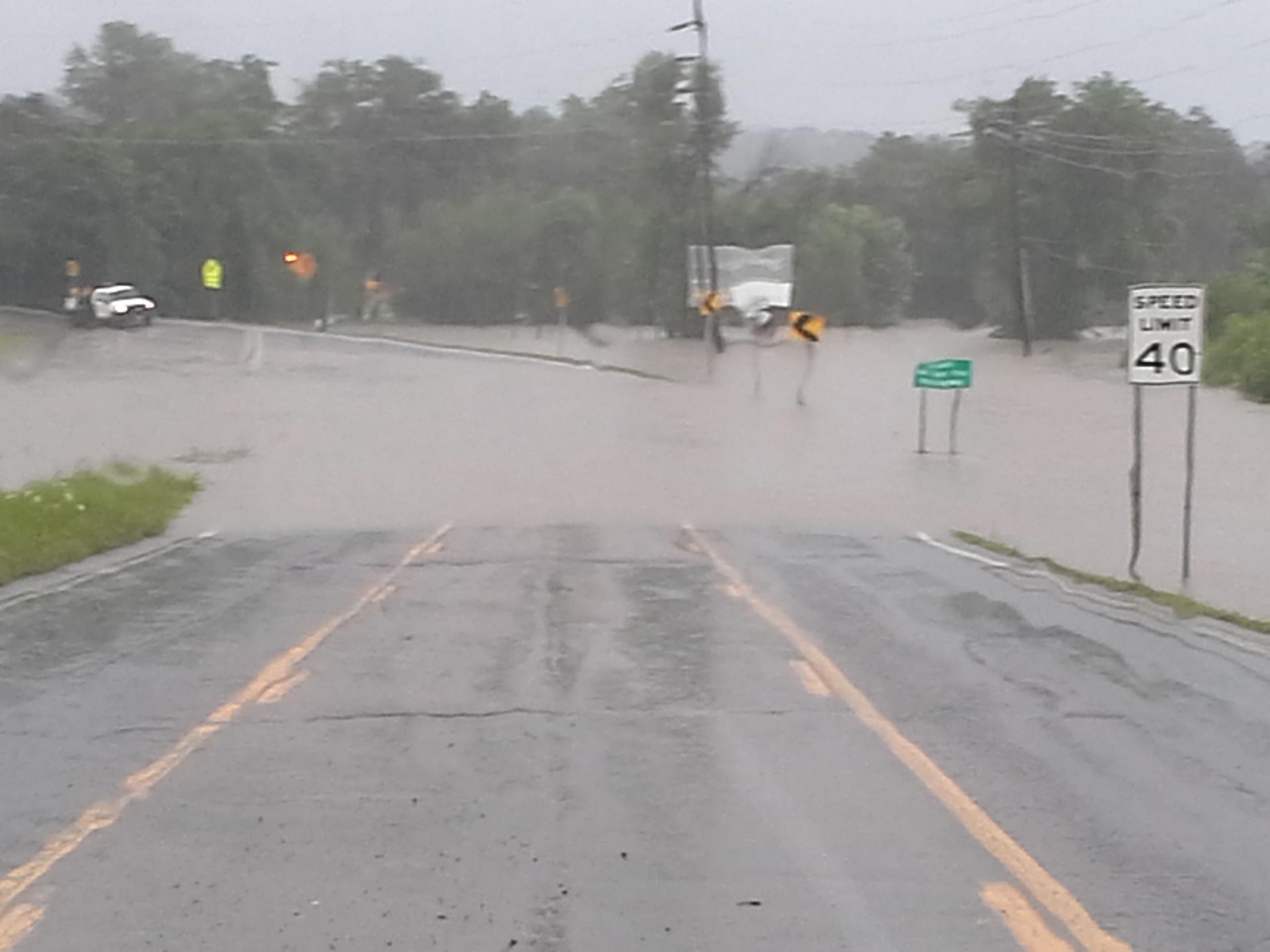 Water over Highway 71 in Mansfield