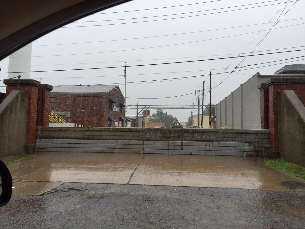 Flood gate in downtown Van Buren