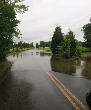 Road flooded in Sequoyah County