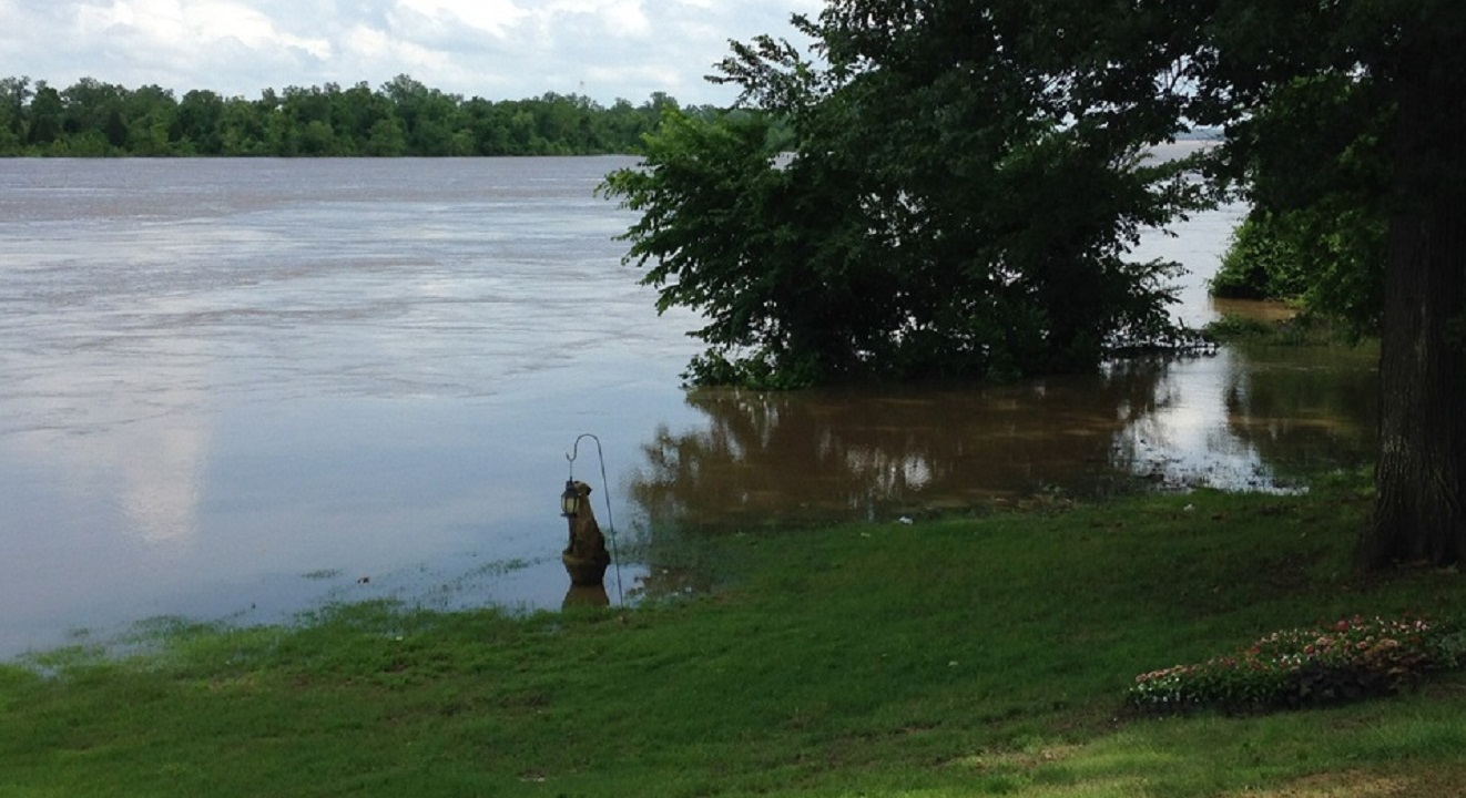 Rivercrest Circle in Fort Smith. Arkansas River completely flooded into this backyard. From 5NEWS viewer Staci G.
