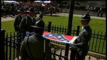 The Confederate battle flag was lowered from a pole on the grounds of the South Carolina Capitol Friday, July 8, 2015, ending more than 50 years of the banner flying at the property. The flag will go to a state military museum about a mile down the road, where it will be exhibited.