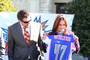 On Monday, July 28, 2015, the Arizona Cardinals announced the hiring of Jen Welter to the team's coaching staff. It is believed that she is the first woman to hold a coaching position of any kind in the NFL. Welter will work with the Cardinals' inside linebackers and will coach throughout training camp and the preseason as a training camp/preseason intern.  This provided photograph shows Welter, number 46, during her time as a coach and player with the Texas Revolution, a professional indoor football team based in Allen, Texas.