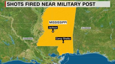 For the second straight day, an unidentified man has fired gunshots near the Camp Shelby military post in southern Mississippi, the National Guard said Wednesday, August 5, 2015.