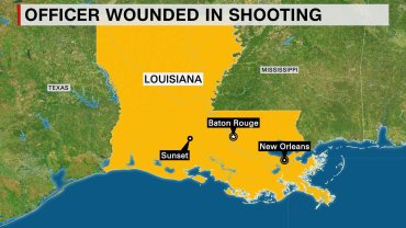 One officer was wounded and transported to the hospital in Sunset, Louisiana following a shooting incident on August 26, 2015, Louisiana State Patrol said. Police said it was an active scene.