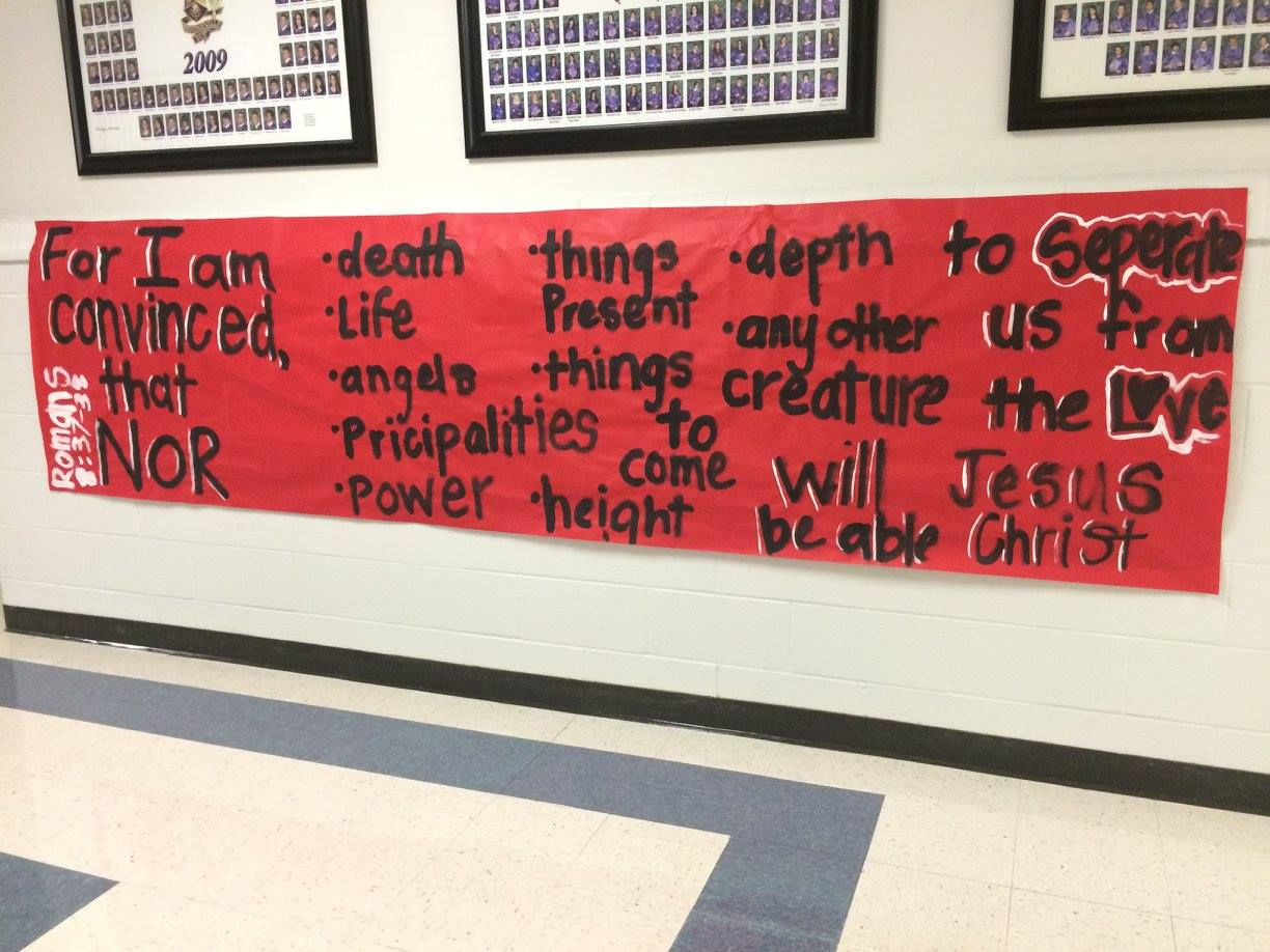 Posters and banners made by Booneville High School students.