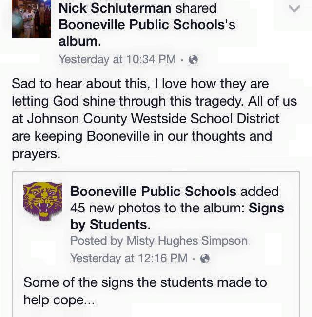 Condolences sent to Booneville High School.