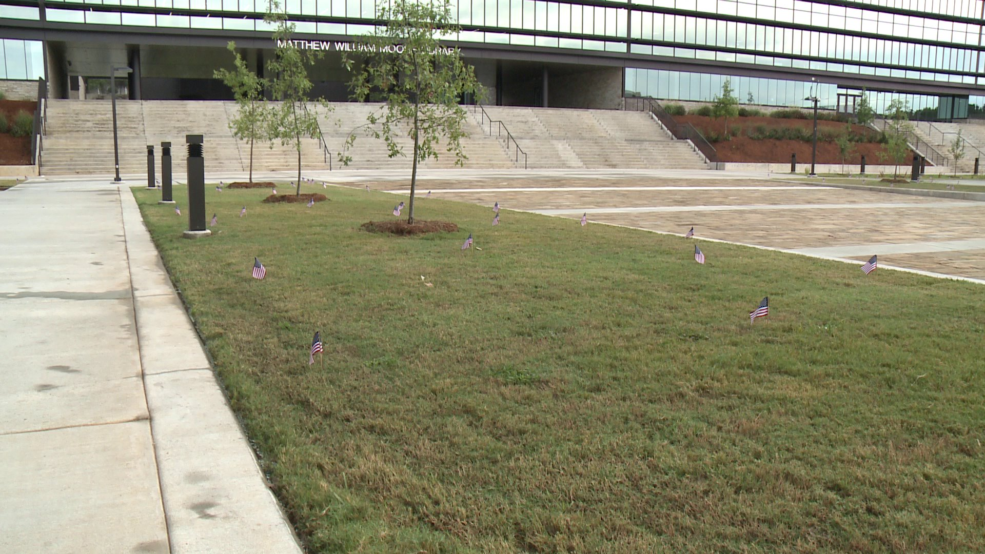 U.S. flags were placed in the courtyard areas at Fayetteville High School in memory of the lives lost and changed on 9/11.