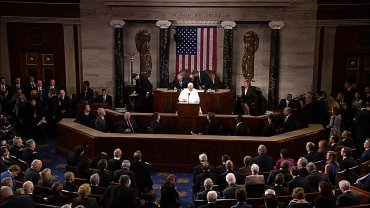 Pope Francis delivers a speech to Congress