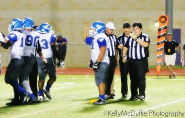 "A photograph show a Texas high school football referee after being struck by two John Jay High School players near San Antonio Friday, 4, 2015. The players were ejected and suspended, and Marble Falls police investigated the incident. The official is shown in this photograph in the umpire uniform marked with ""U"" and not wearing the black uniform ball cap.  Editor's Note: Must not obscure credit line."