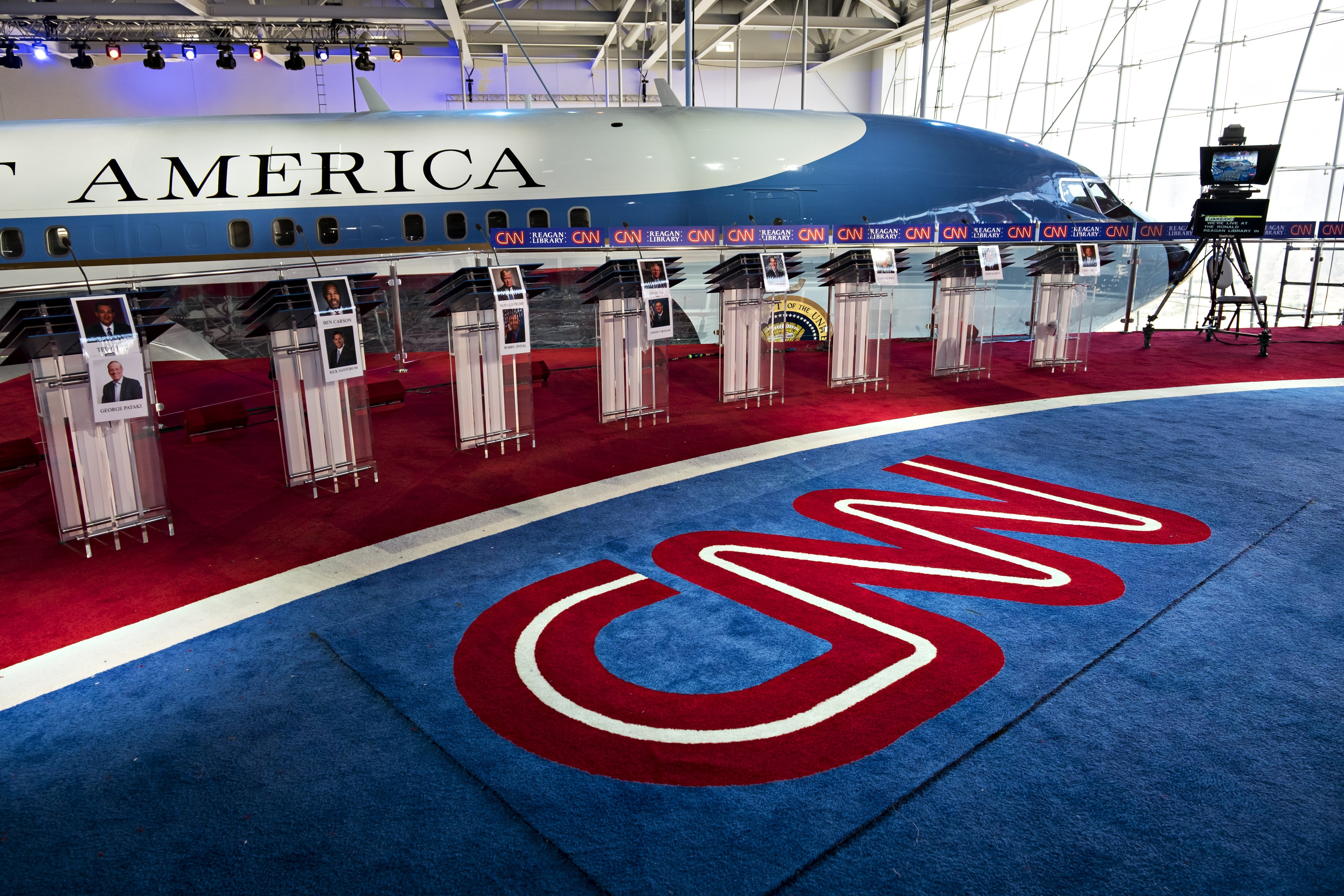The stage is set at the Reagan Presidential Library on September 13, 2015, for the CNN Republican Presidential Candidate Debate. CNN's Jake Tapper will be the moderator for the debate from the Library on the 16th.