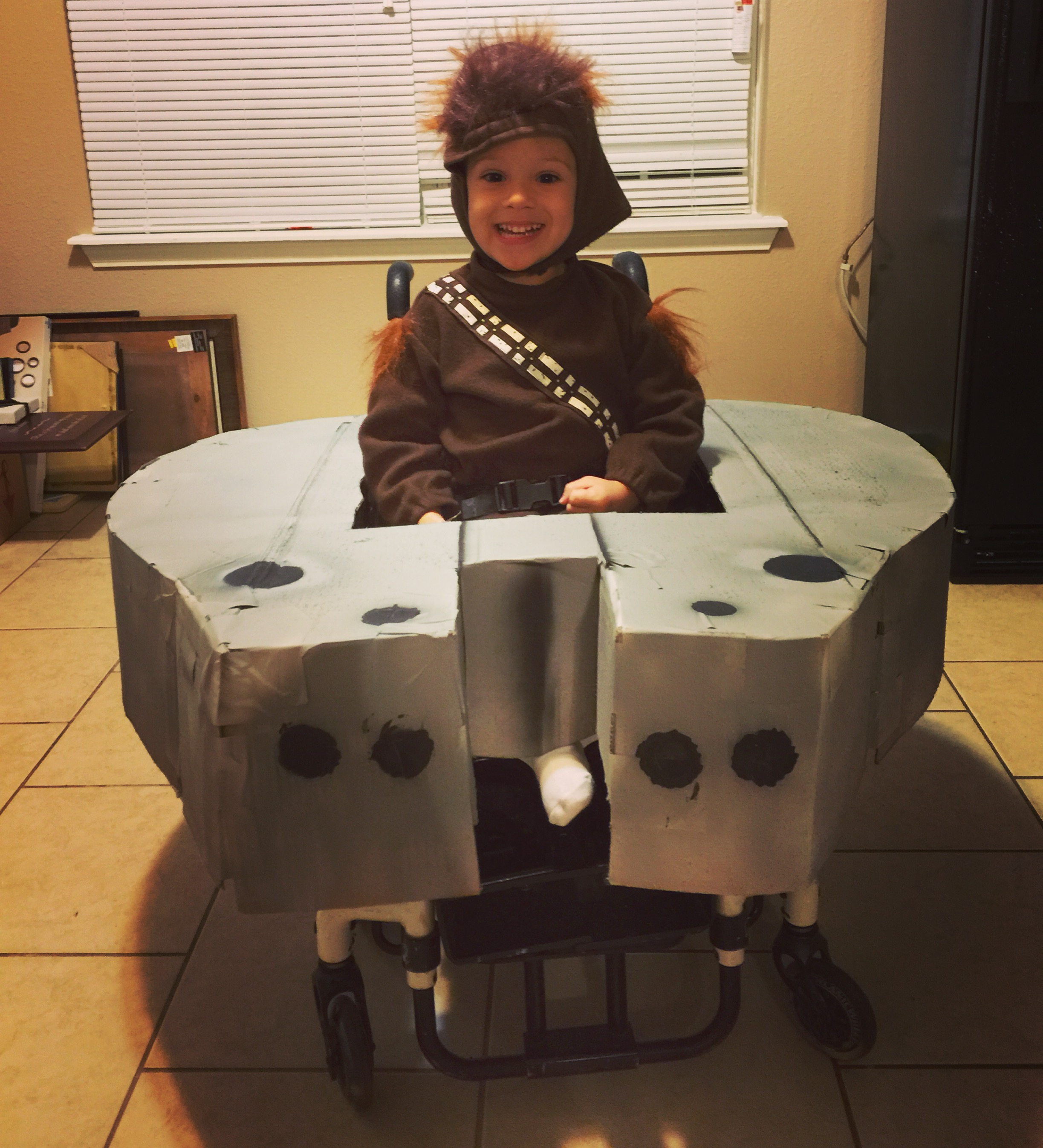 Chandlor Dressed Up As Chewbacca