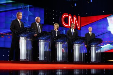 Jim Webb, Bernie Sanders, Hillary Clinton, Martin O'Malley and Lincoln Chafee at the CNN Democratic Debate at the Wynn Hotel in Las Vegas, Tuesday, October 13, 2015.