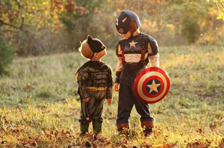 Blayken and Breckyn Denton dressed up as Batman and Captain America.